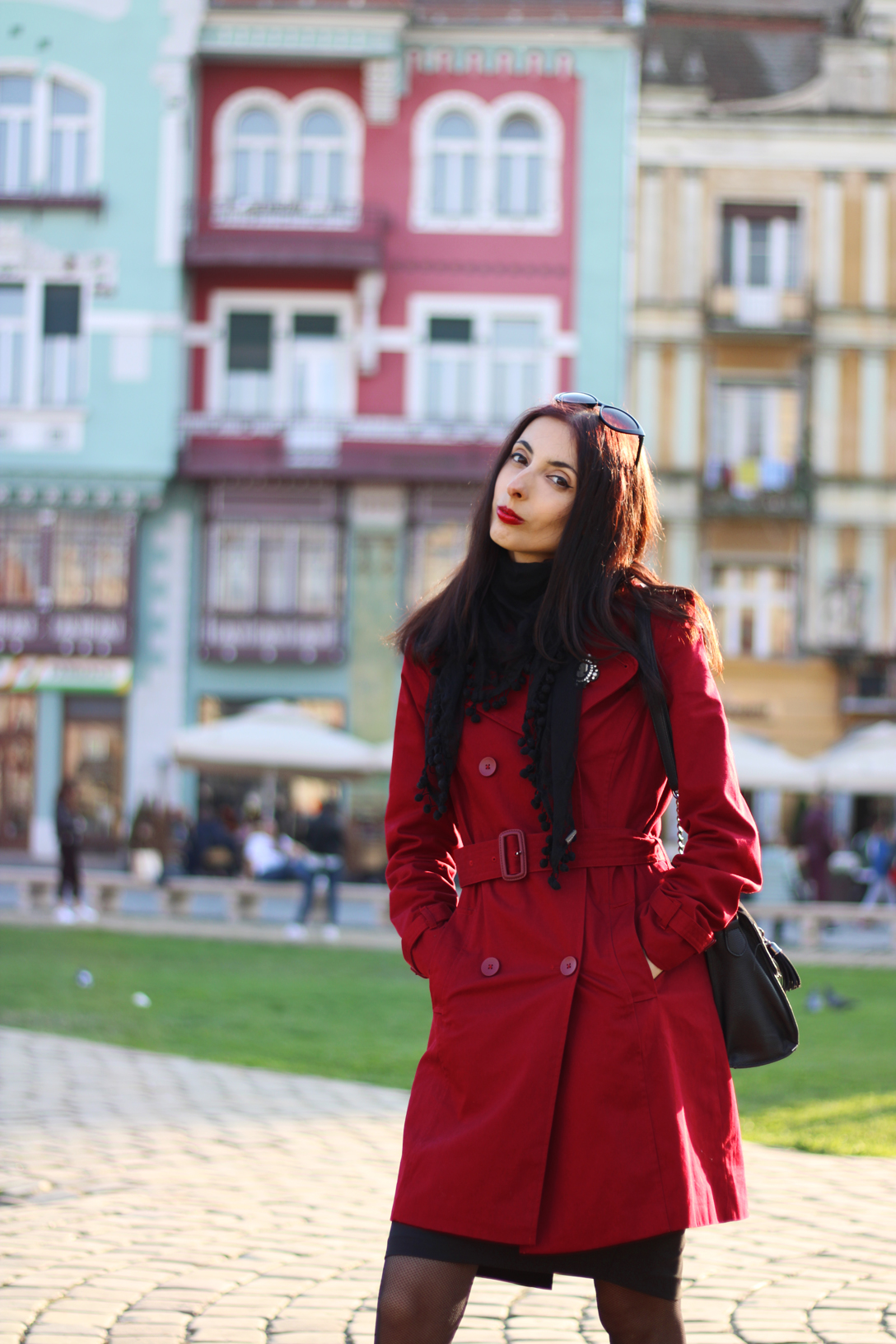 Red trenchcoats for women