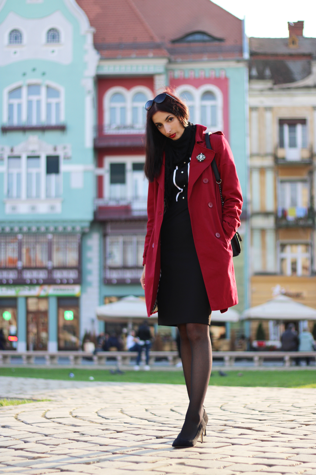Women red trench coat