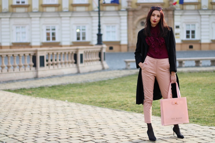 Pink and burgundy transition outfit