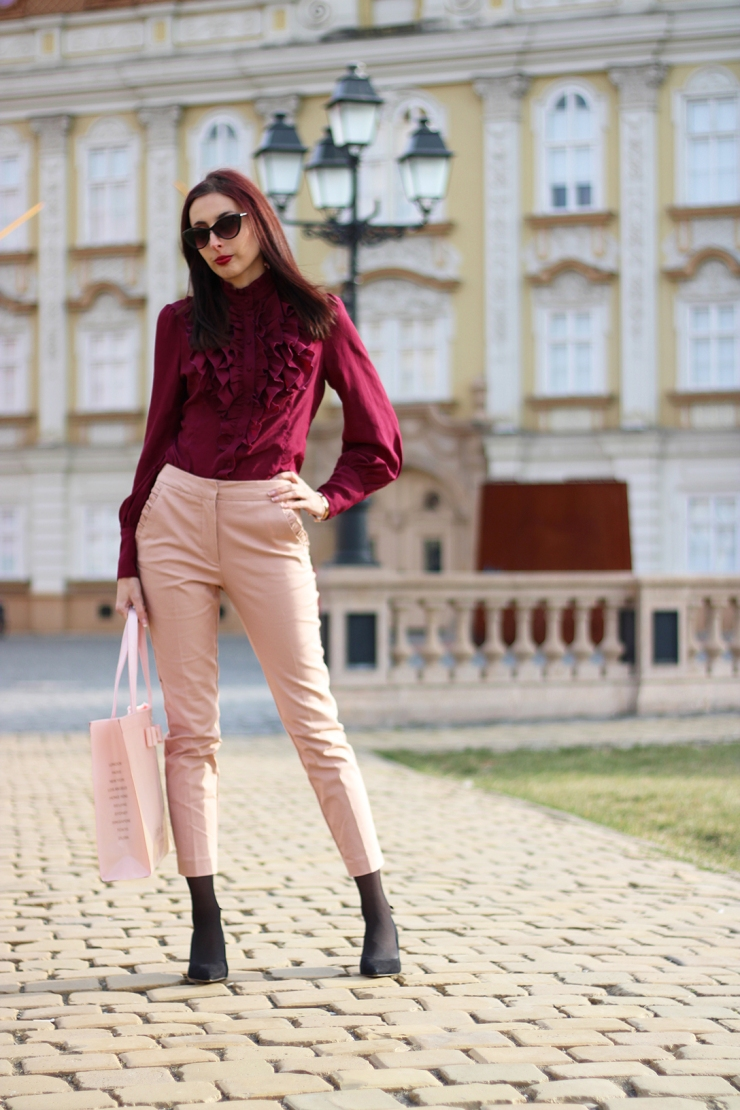 Pink and burgundy transitional outfit