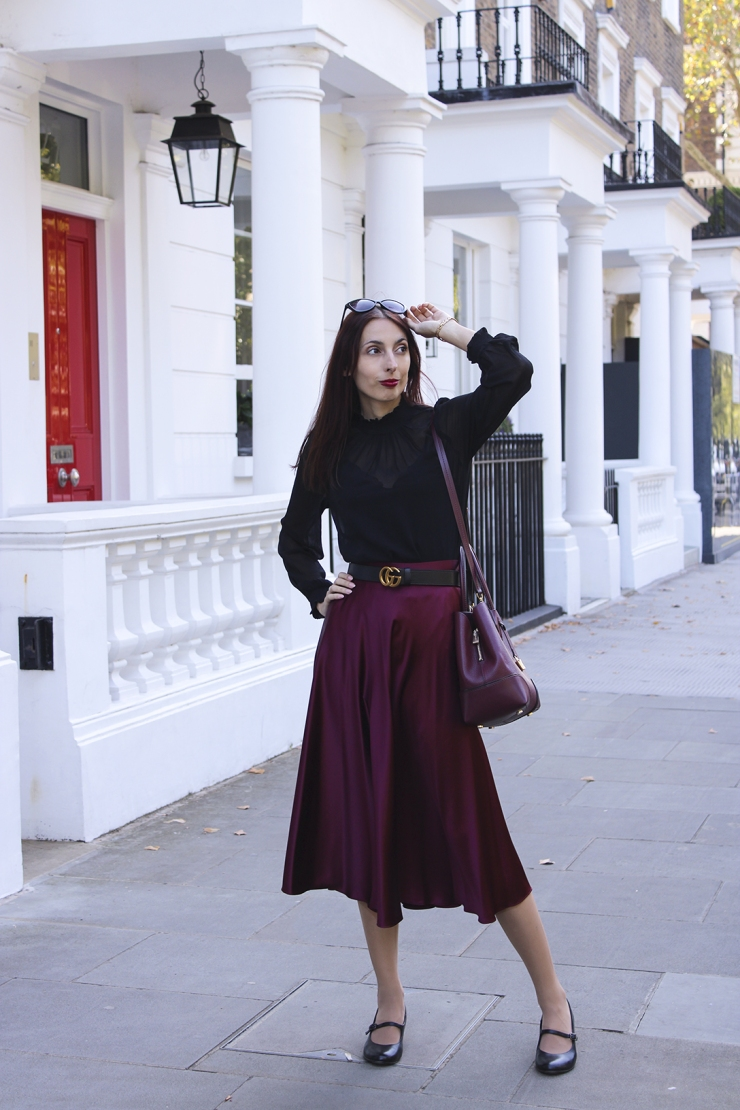 Fall satin midi skirt