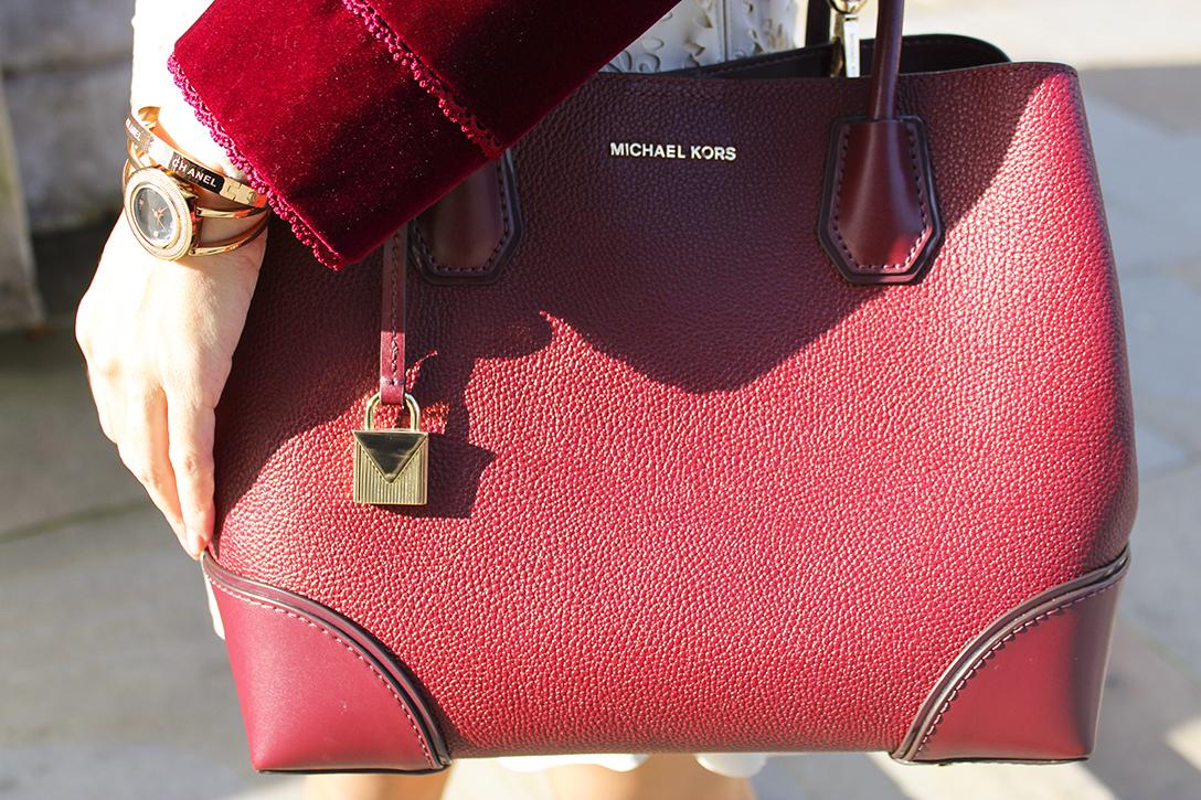 Michael Kors mercer gallery leather satchel in oxblood