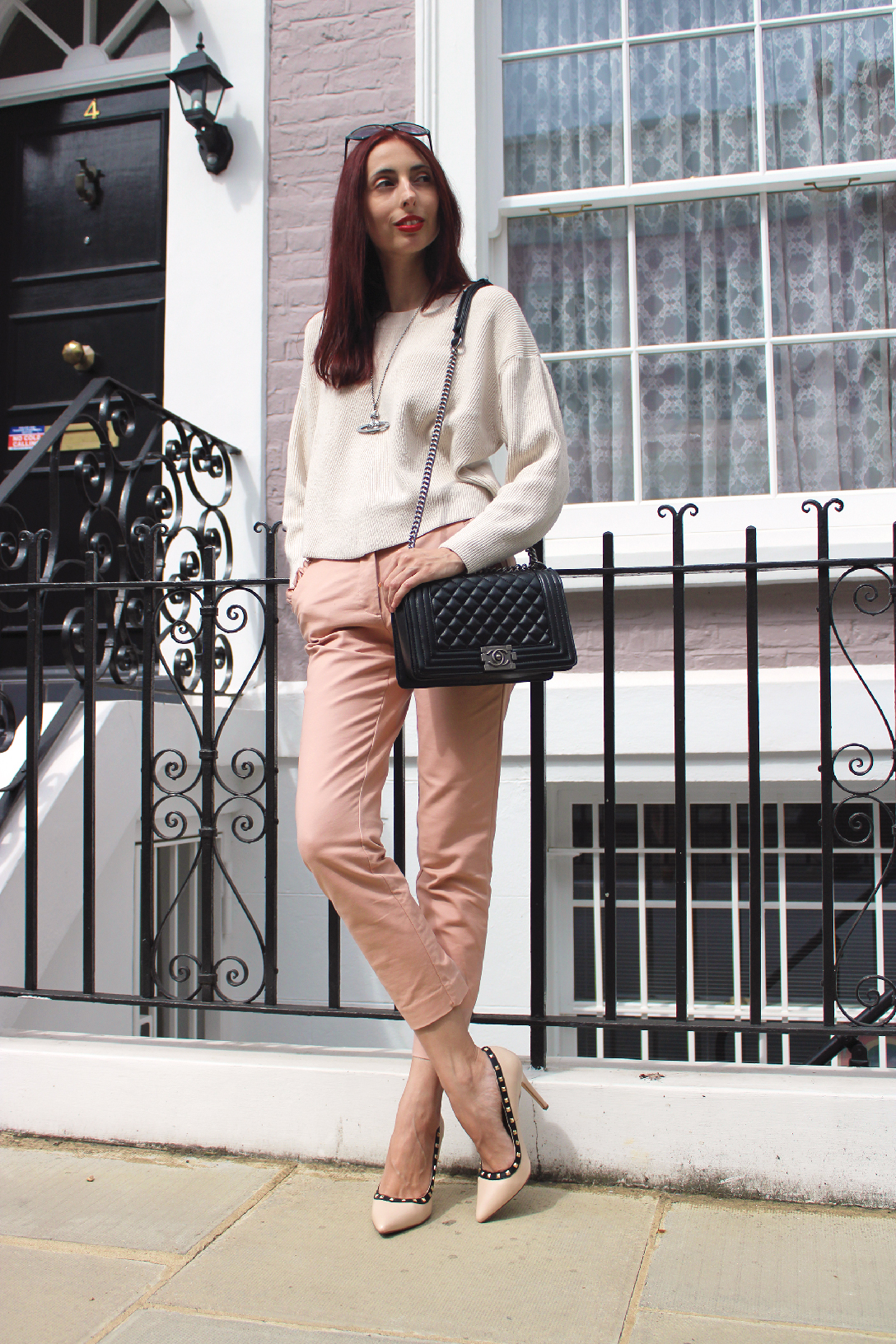 pink transitional autumn outfit