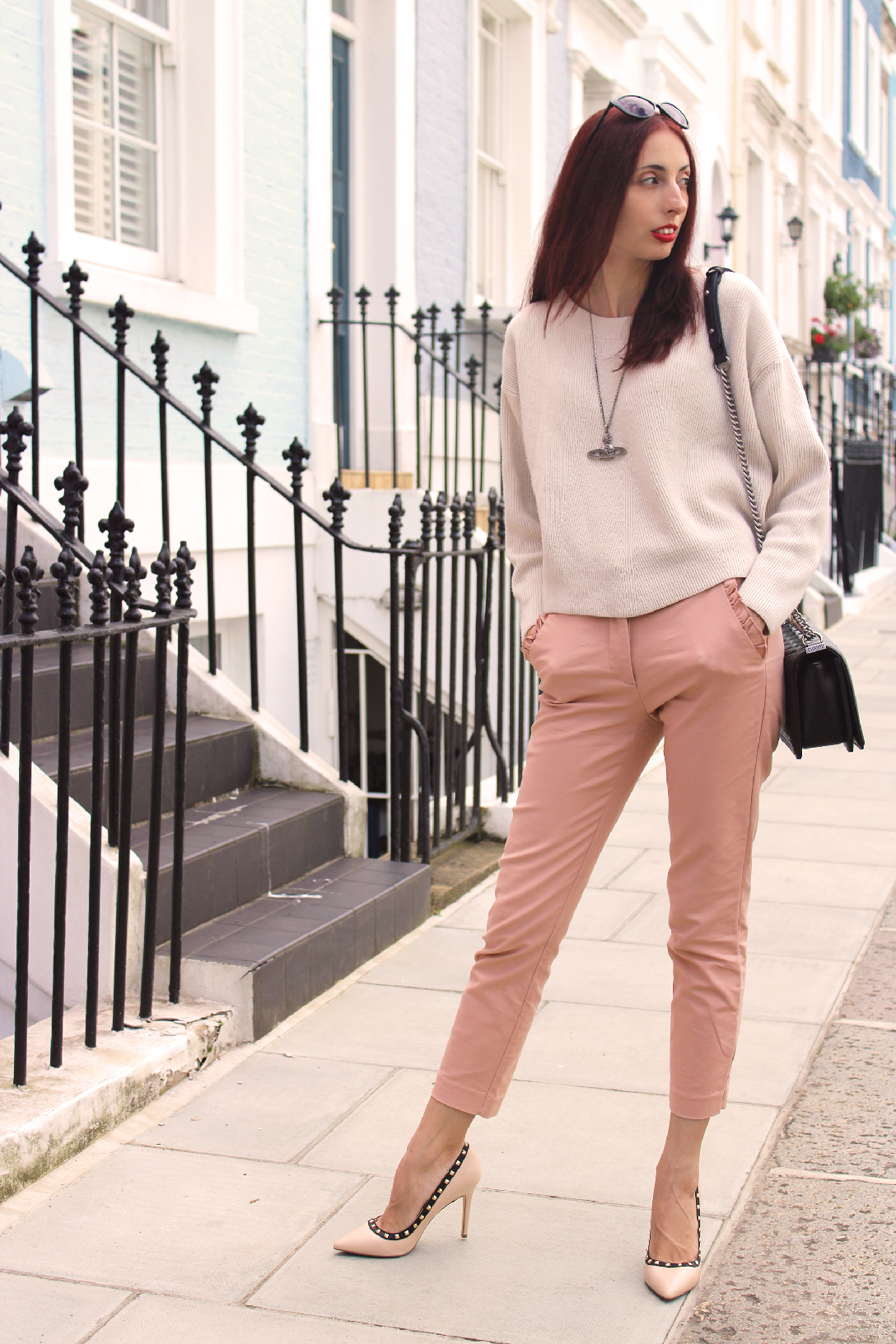 A pastel pink fall transitional outift